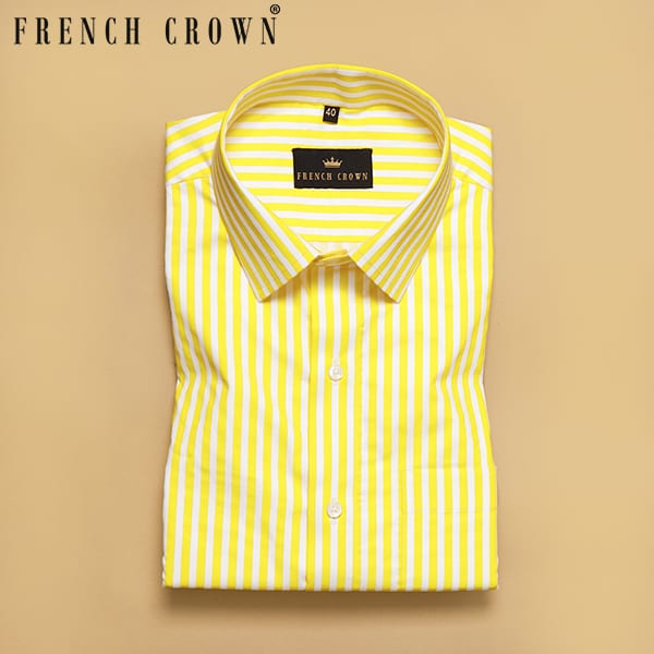 Yellow with White Stripes Printed Super Soft Giza Cotton SHIRT