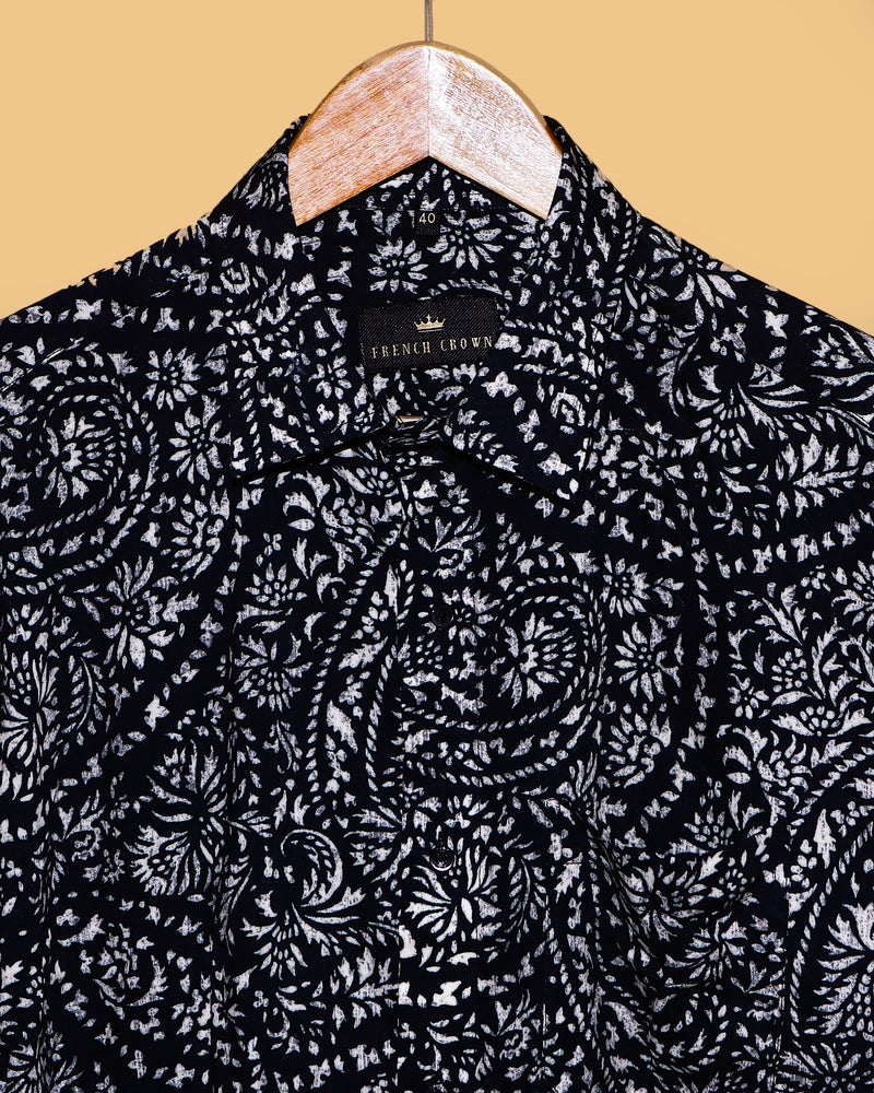 Black Indian Heritage Print Giza Cotton SHIRT