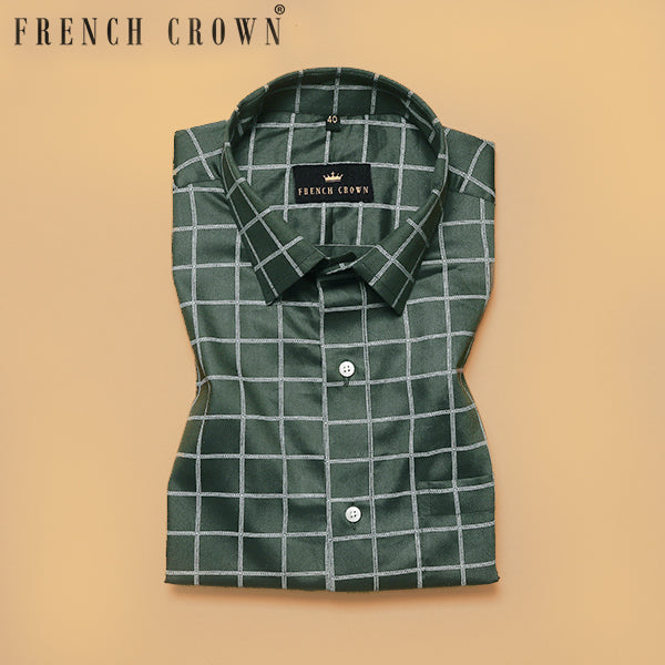 Green Windowpane Checked Premium cotton shirt