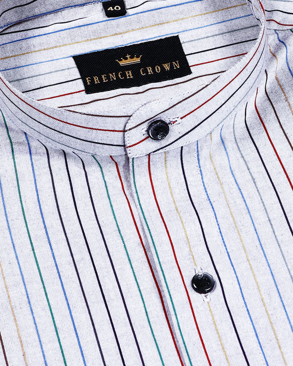 Grey Multi-color Striped Poplin Shirt