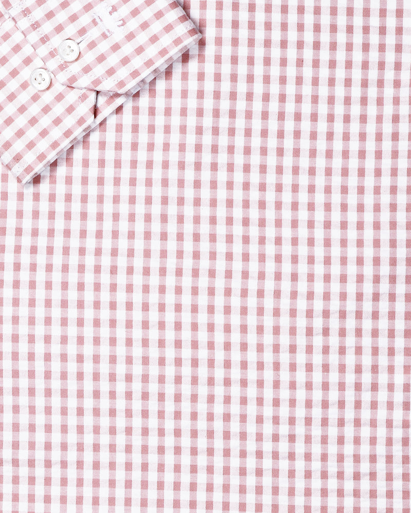 Peach with White Micro checked Seersucker Giza Cotton shirt