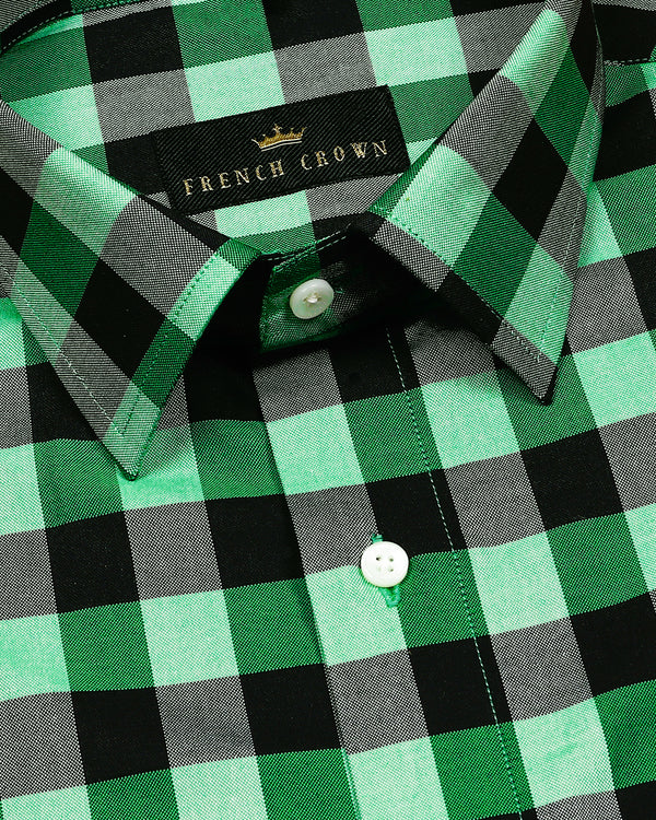 Green with Black checked Giza Cotton shirt