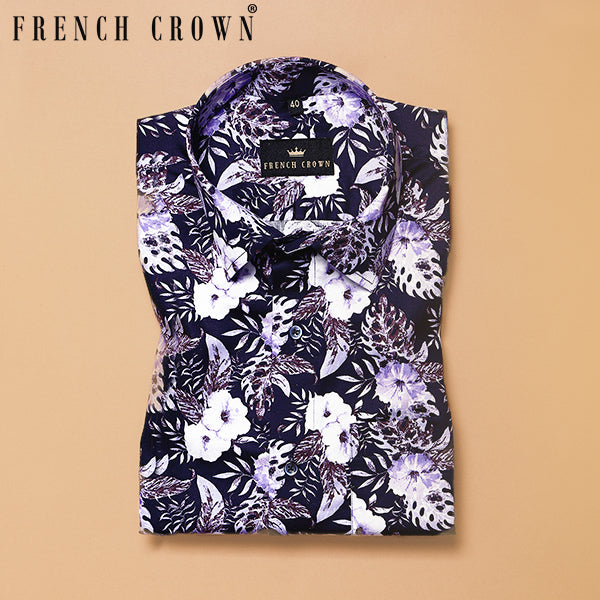 White with Navy and Purple Flower Tropical Print Super Soft Giza Cotton SHIRT