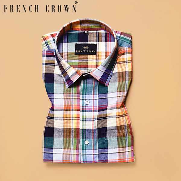 Yellowish Multi-colour Checked Poplin Shirt