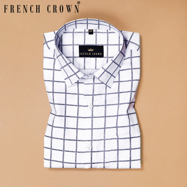 Bright White Checked Super Soft Giza Cotton SHIRT