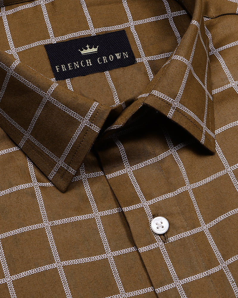 Brown Checked Super Soft Giza Cotton SHIRT