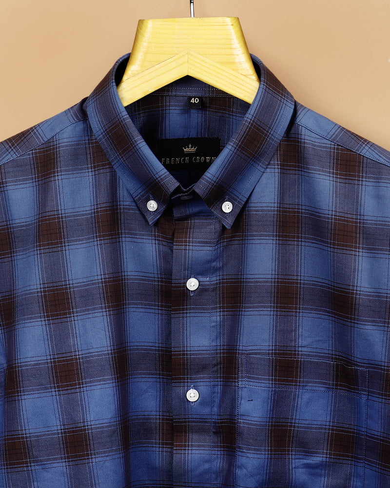 Navy with Brown Plaid SHIRT