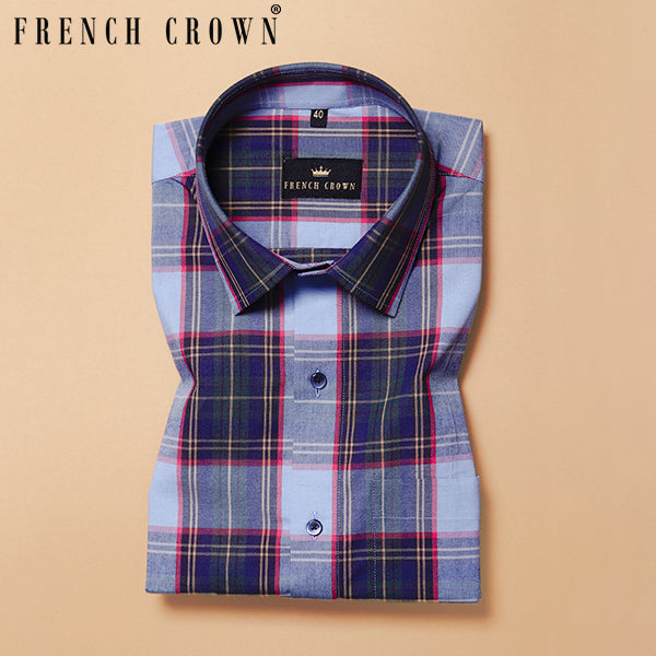 Grey Multi-colour Checked Poplin Shirt