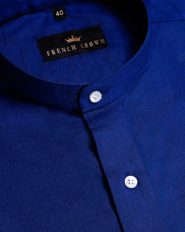 Blue Mandarin Oxford Shirt