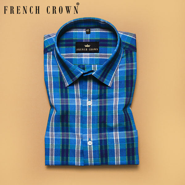 Royal Blue Jacquard thread work Checkered Giza Cotton shirt