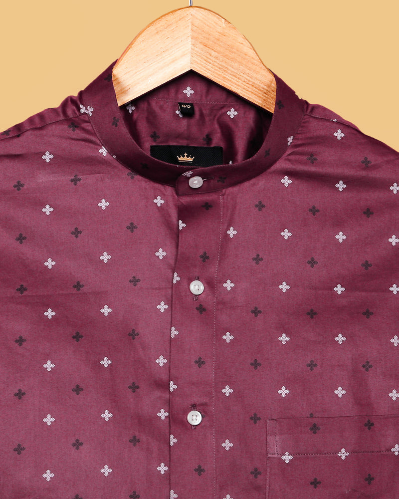 Merlot Maroon Printed Premium Cotton Shirt