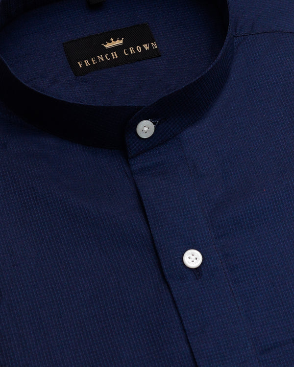 Royal Blue Jacquard Textured Giza Cotton shirt