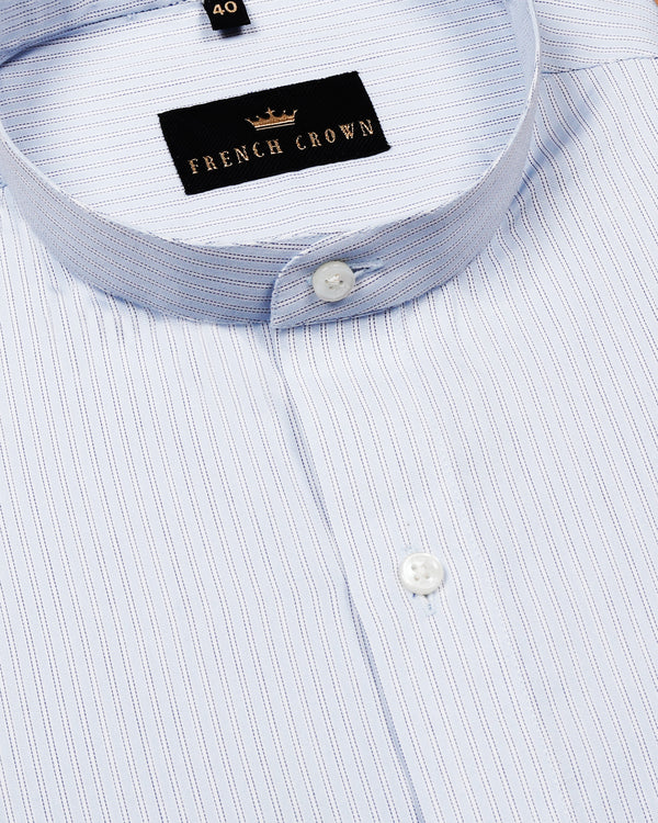 Sky Striped Mandarin collar Premium Cotton Shirt