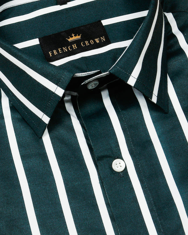 Timber Green Striped Premium Cotton Shirt