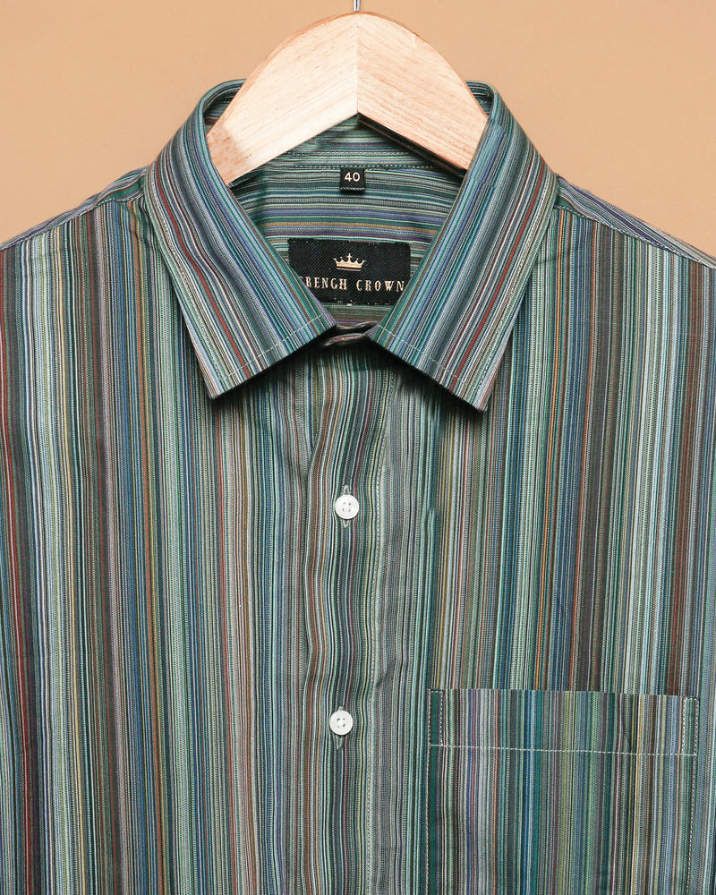 Green Micro Striped Poplin Shirt