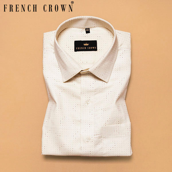 Cream Uneven Dotted Textured Giza Cotton shirt