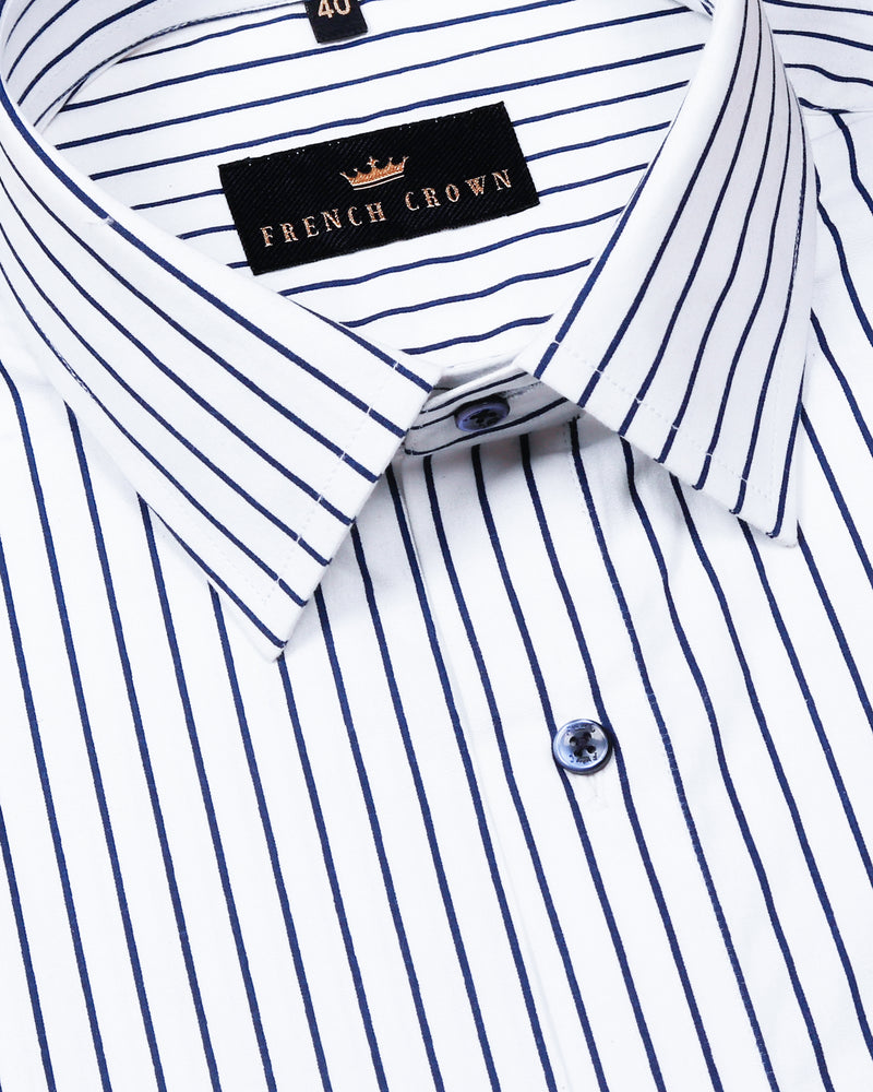 Pearl White Mid Striped Premium Cotton Shirt