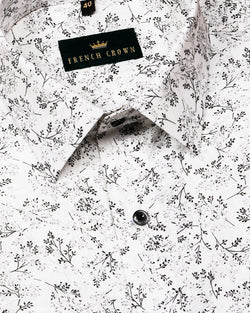 White with Grey and Black Micro Print luxurious Linen Shirt
