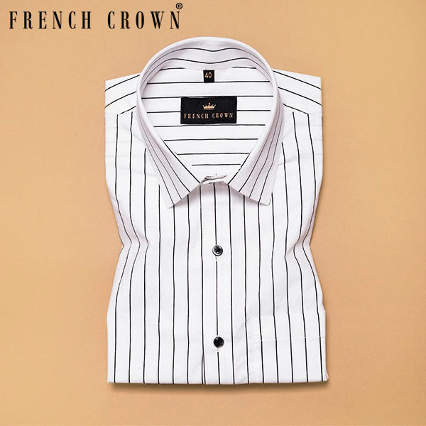 Bright White Striped Soft Cotton Shirt
