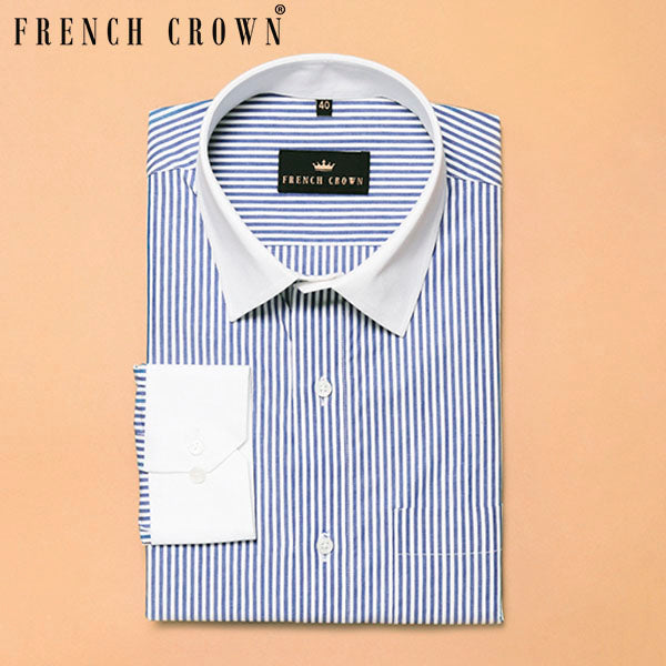 Mid Blue Thin Bengal Stripes Premium Cotton Shirt