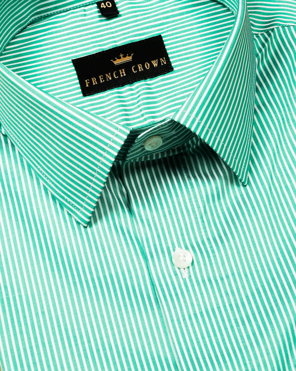 Green Thin Bengal Stripes Premium Cotton Shirt