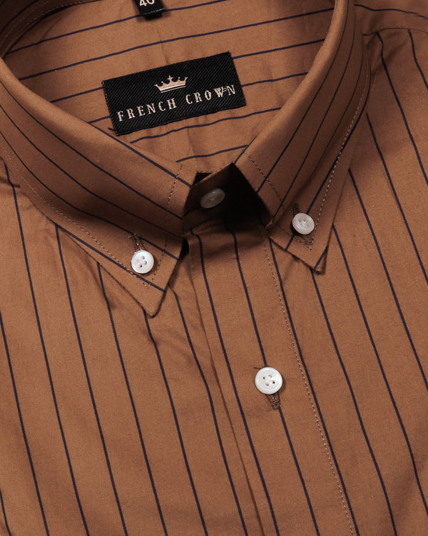 Soil Brown Striped Poplin Shirt