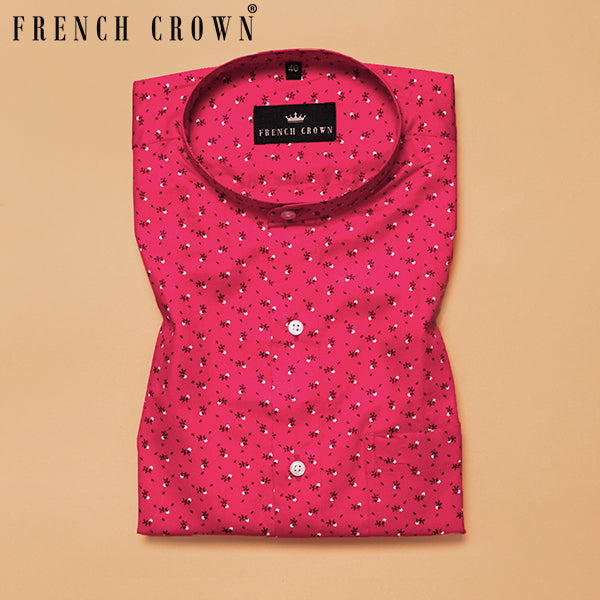 Bright Pink Micro Printed Premium Cotton Shirt