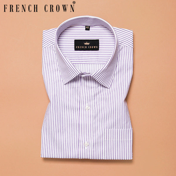 Mid Lavender Thin Bengal Stripes Premium Cotton Shirt
