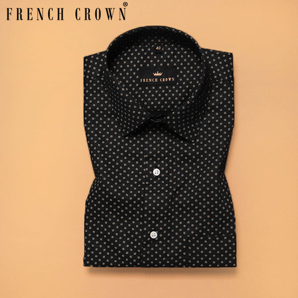 Black with Golden Micro Print Premium Cotton SHIRT