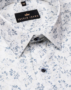 White with Olive and Blue Micro Print luxurious Linen Shirt