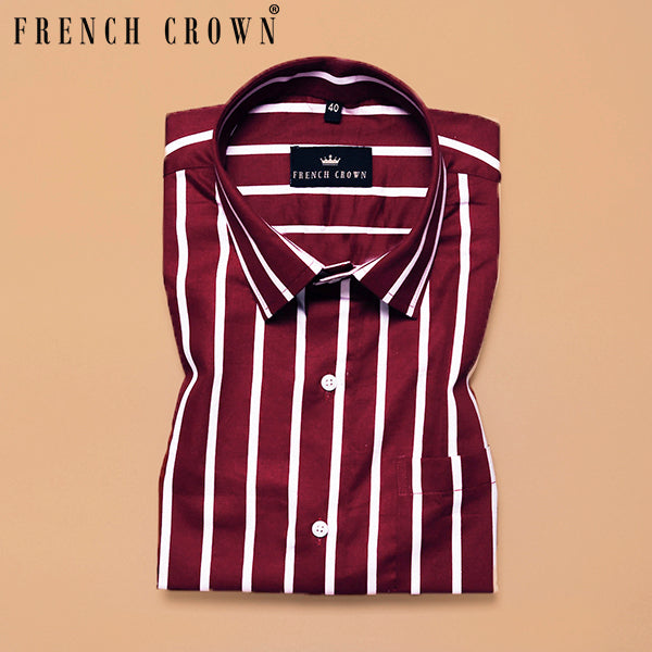 Blood Red Striped Premium Cotton Shirt