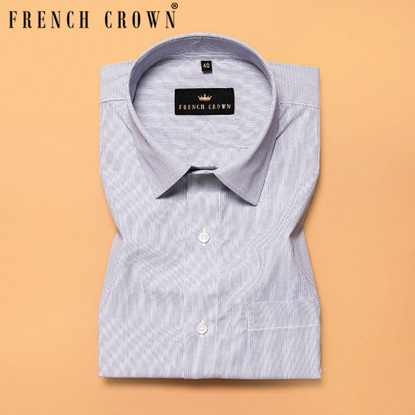 Grey Thin Bengal Stripes Premium Cotton Shirt