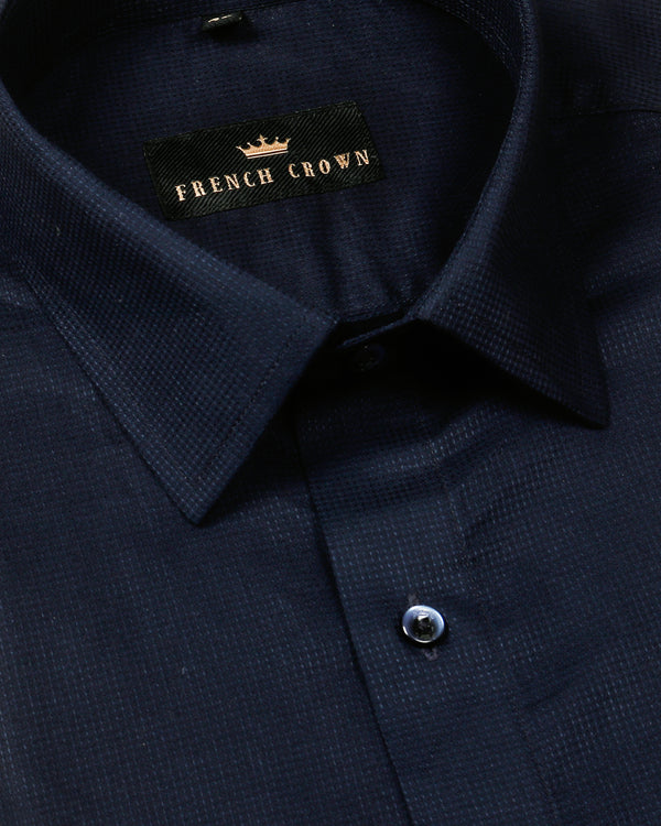 Navy Jacquard Textured Giza Cotton shirt