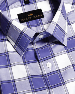 Purple with white Checked Poplin Shirt