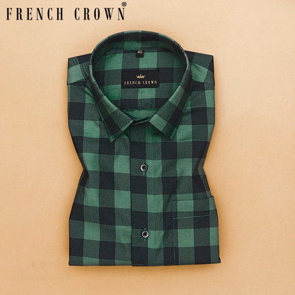 Green and Black Checked Premium Cotton SHIRT