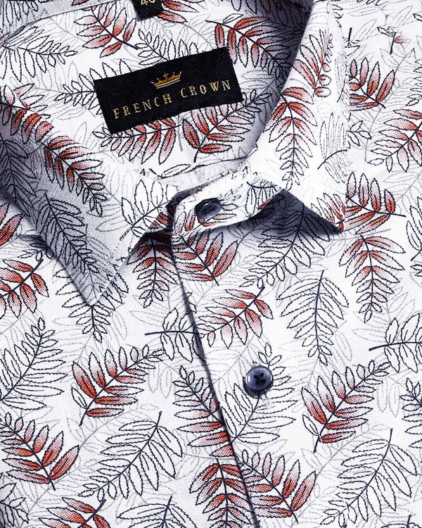 Grey Flower Print luxurious Linen Shirt