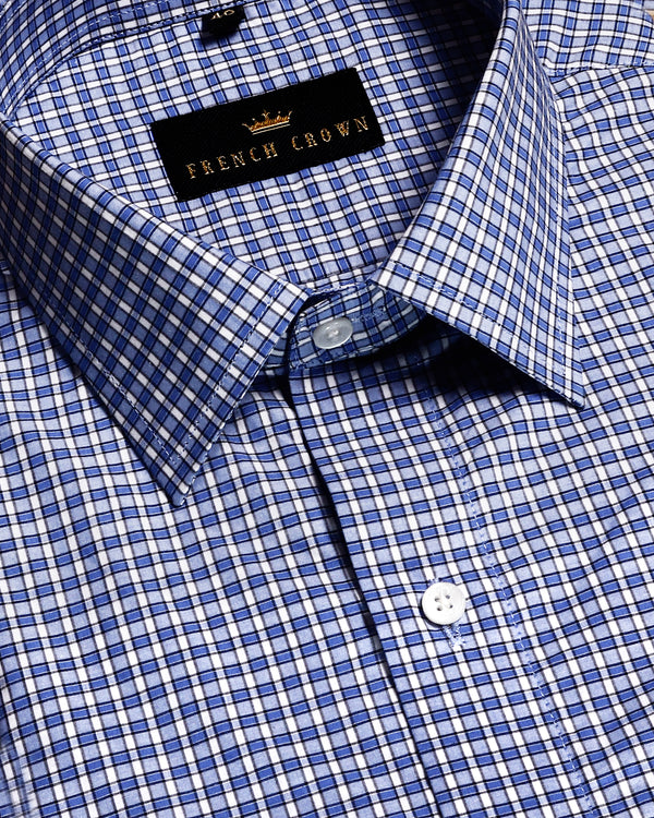 Mid Blue Checked Premium cotton Shirt