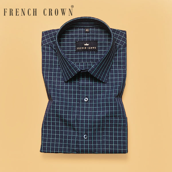 Navy Checked Premium Cotton Shirt