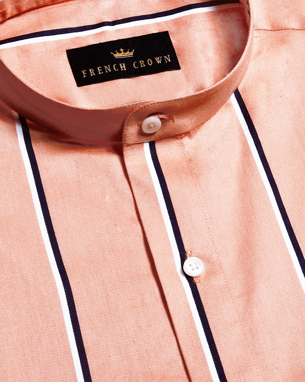 Peach Broad Striped Premium Cotton SHIRT