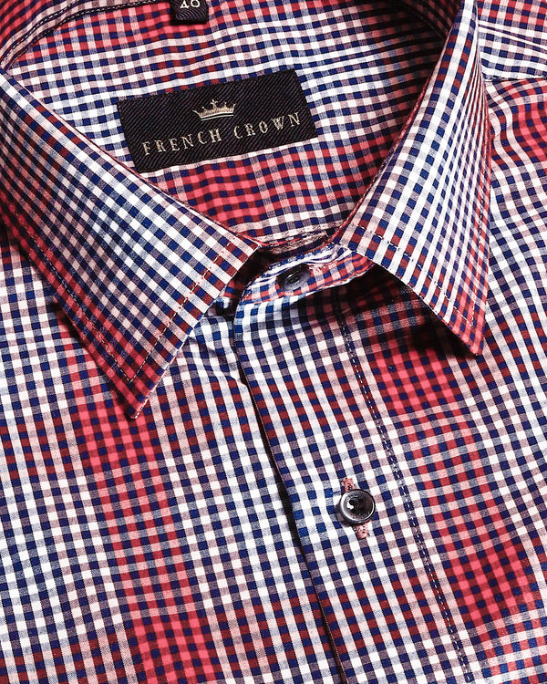 Red and Black Micro checked Premium Cotton shirt