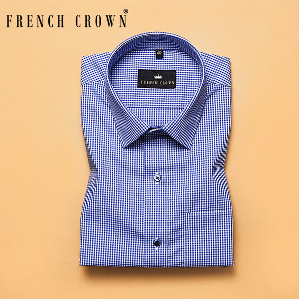 Blue Micro checked Premium Cotton shirt