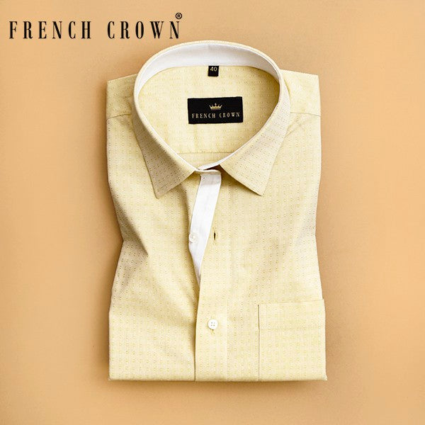Butter Yellow Textured Giza Cotton shirt