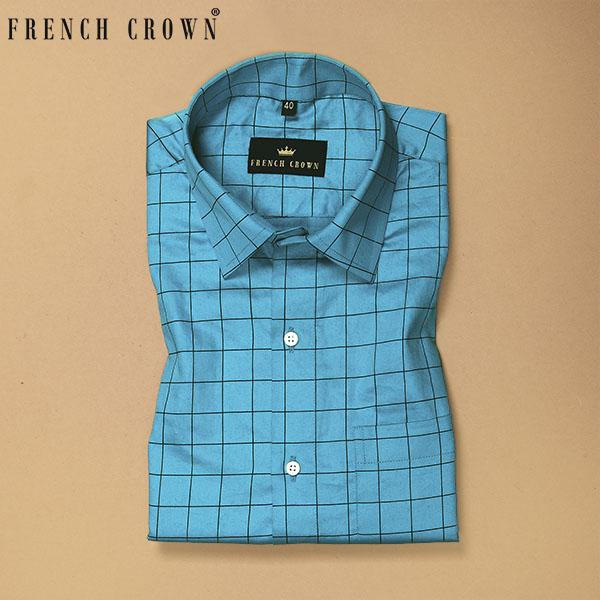 Mint Blue Checked Premium Cotton SHIRT