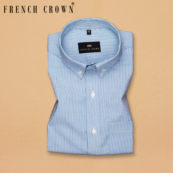 White Thin Striped Formal Shirt