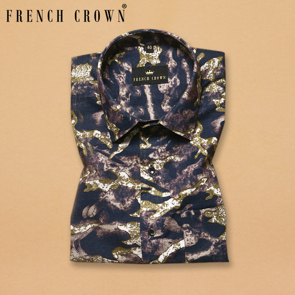 Dark Camouflage Print Royal Oxford Shirt