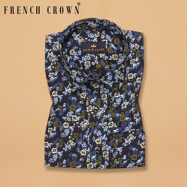Navy Flower Valley Paint Print Royal Oxford Shirt