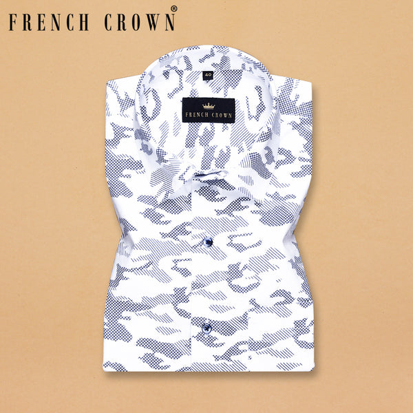 Bright White Printed Soft cotton shirt