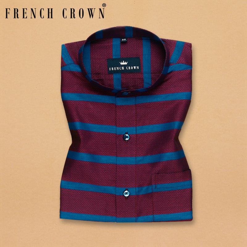 Maroon with Blue Horizontal Stripe houndstooth shirt