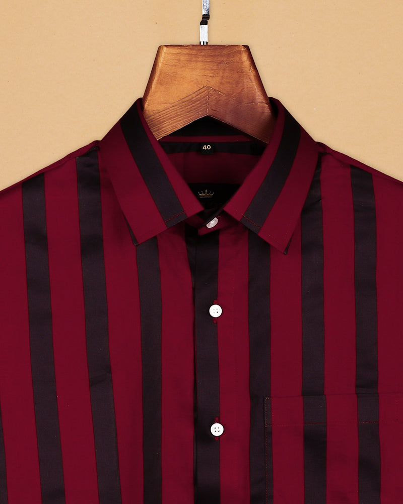 Maroon with Black Broad Striped Ultra Soft Cotton SHIRT