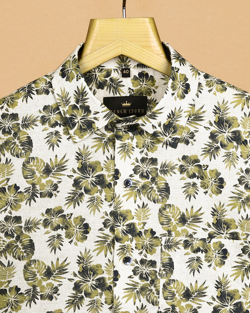 Olive Tropical Print luxurious Linen Shirt